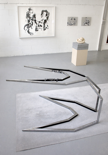 Whitney McVeigh (monoprint), Konrad Wyrebek (metal sculpture), Sarah Lucas (sculpture, courtesy of Sadie Coles HQ), Konrad Wyrebek (two oil paintings)