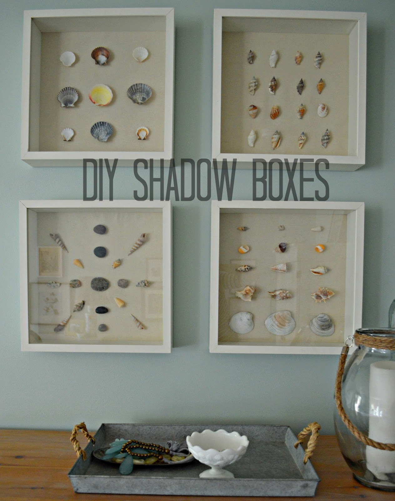 Right up my alley diy shadow box and shell art for Shell diy