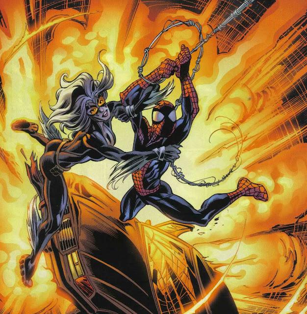 spiderman y gatanegra en trayectoria de impacto