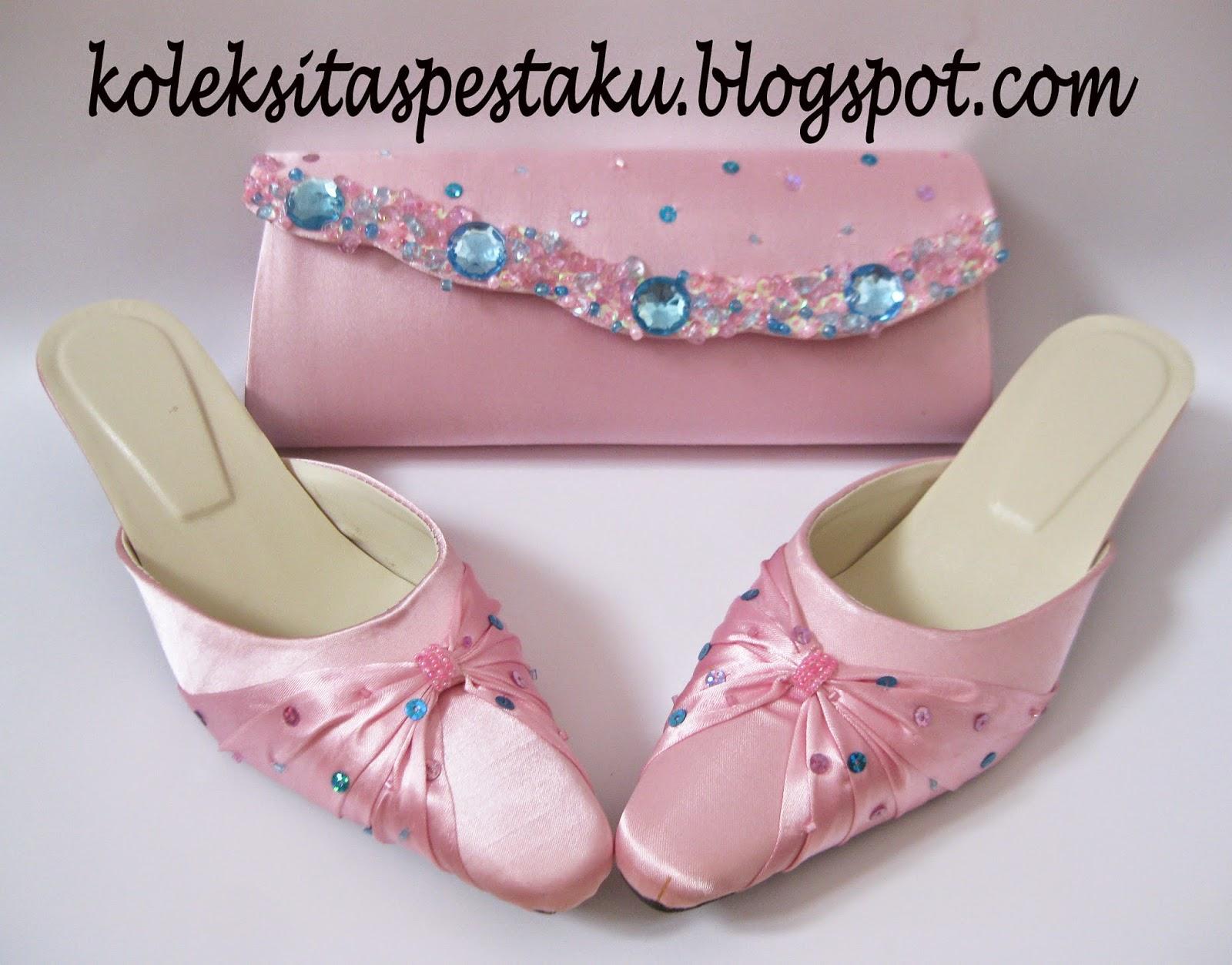 Pink Muda dan Biru Muda Tas Pesta Slop Pesta Mewah Elegant
