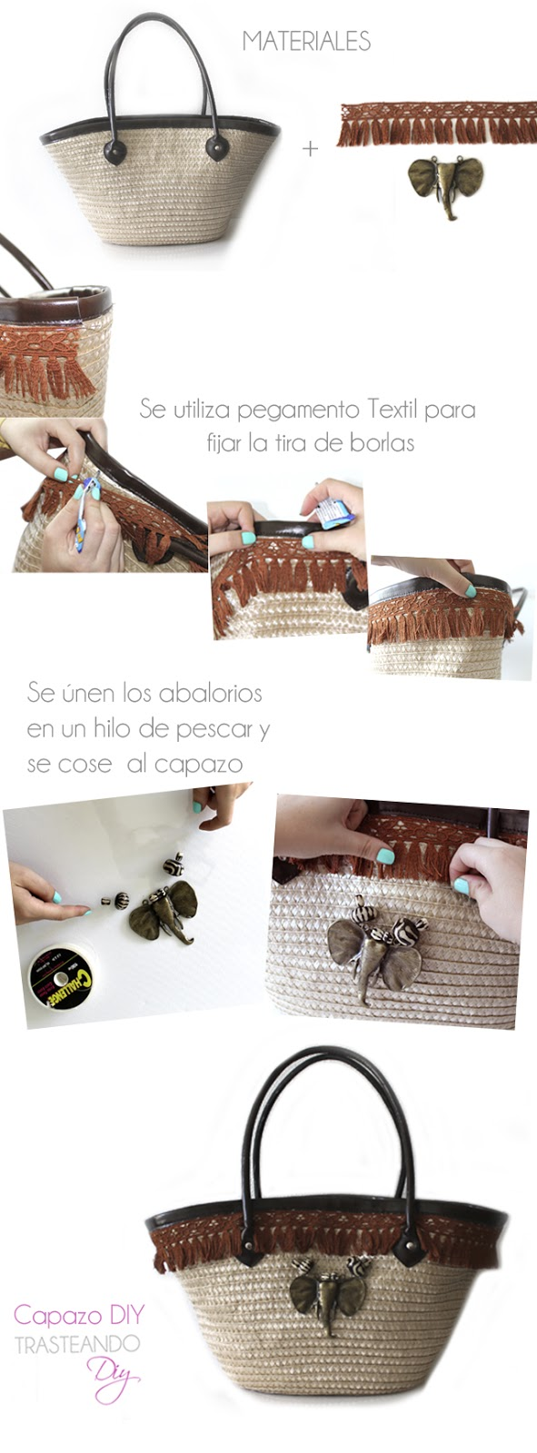 DIY CUSTOMIZACION CAPAZO CRAFT BOLSO