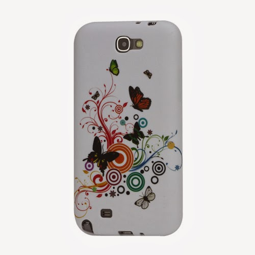 Butterfly Circle TPU Jelly Case for Samsung Galaxy Note 2 / II N7100