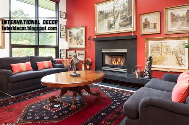 decorate with red, red interior living room