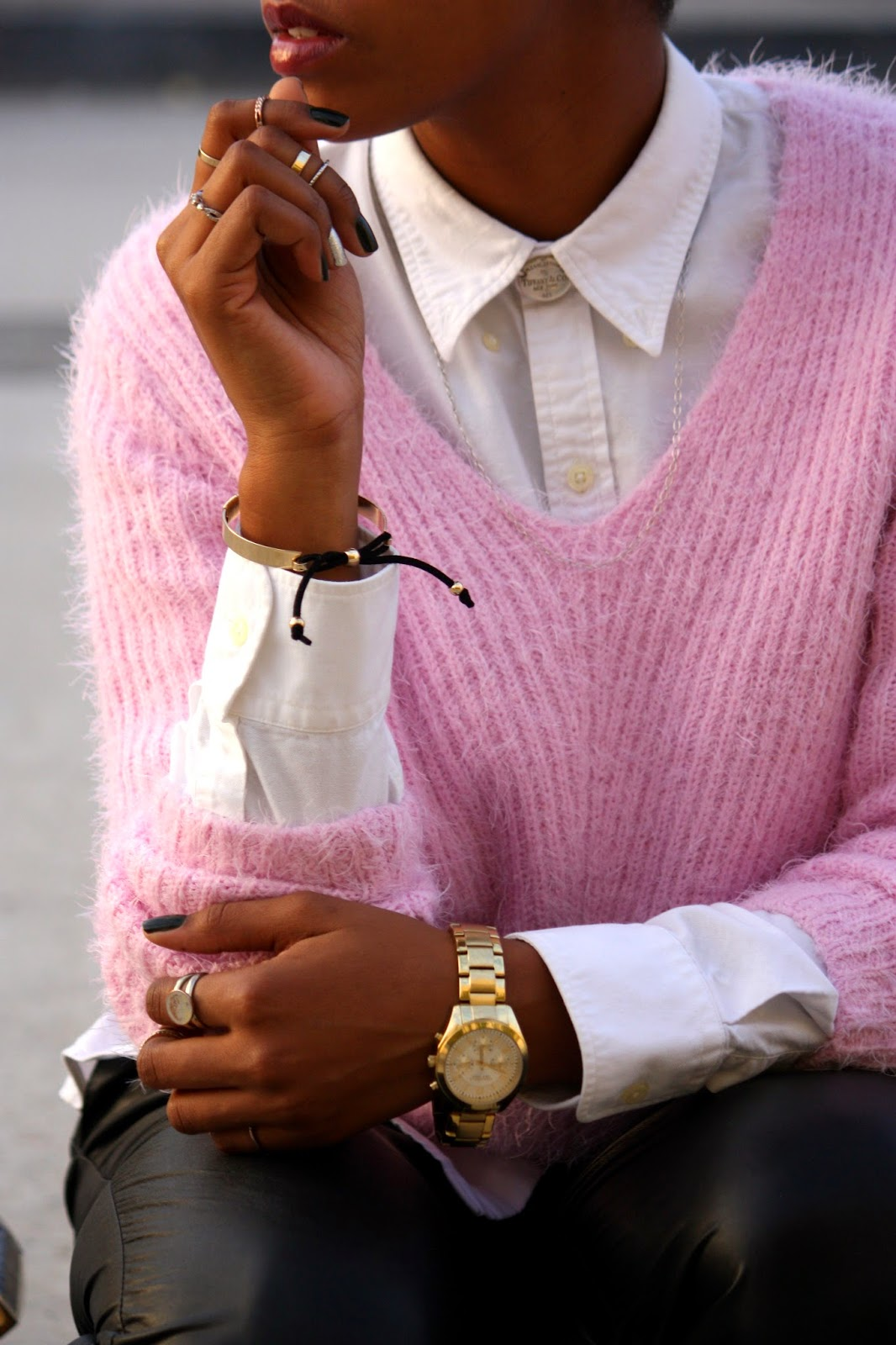 Think Pink outfit accessory details Tiffany & Co oval choker Caravelle NY gold watch