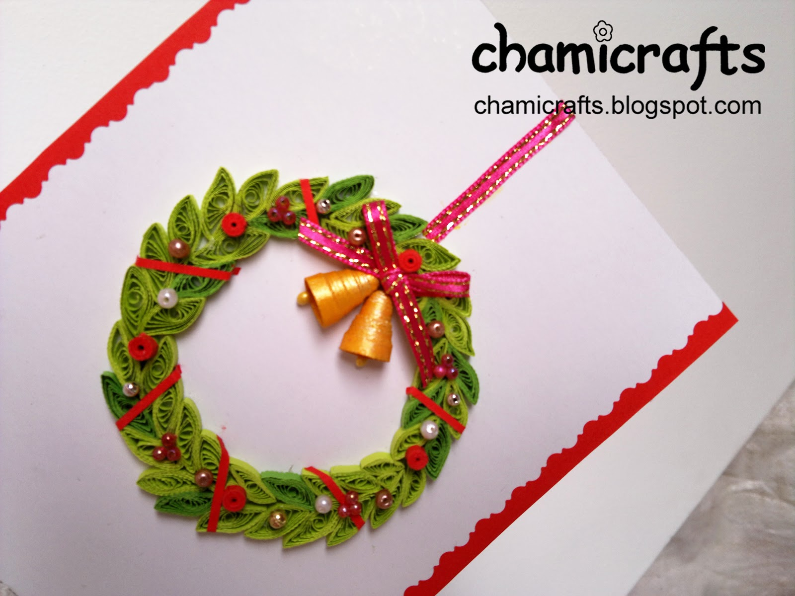 Chami Crafts Handmade Greeting Cards Christmas Wreath With Gold