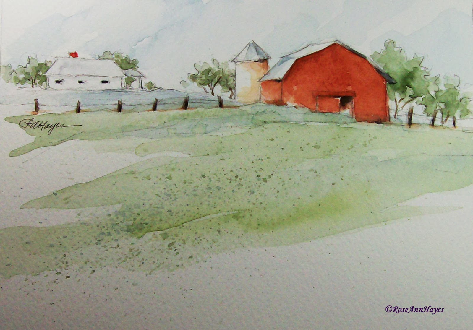 Watercolor paintings by roseann hayes old farmhouse and for Watercolor barn paintings