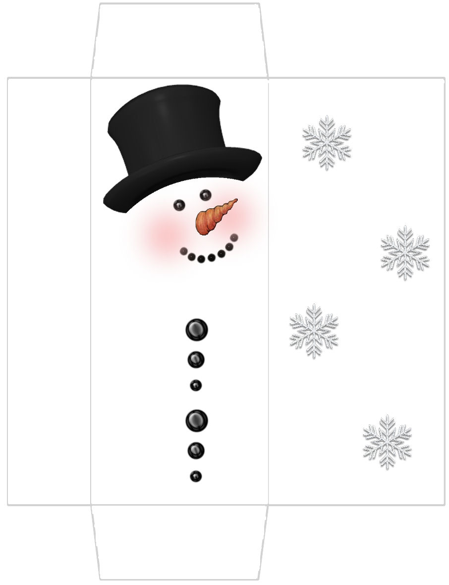 Patty wraps snowman candy bar box free for Snowman templates free