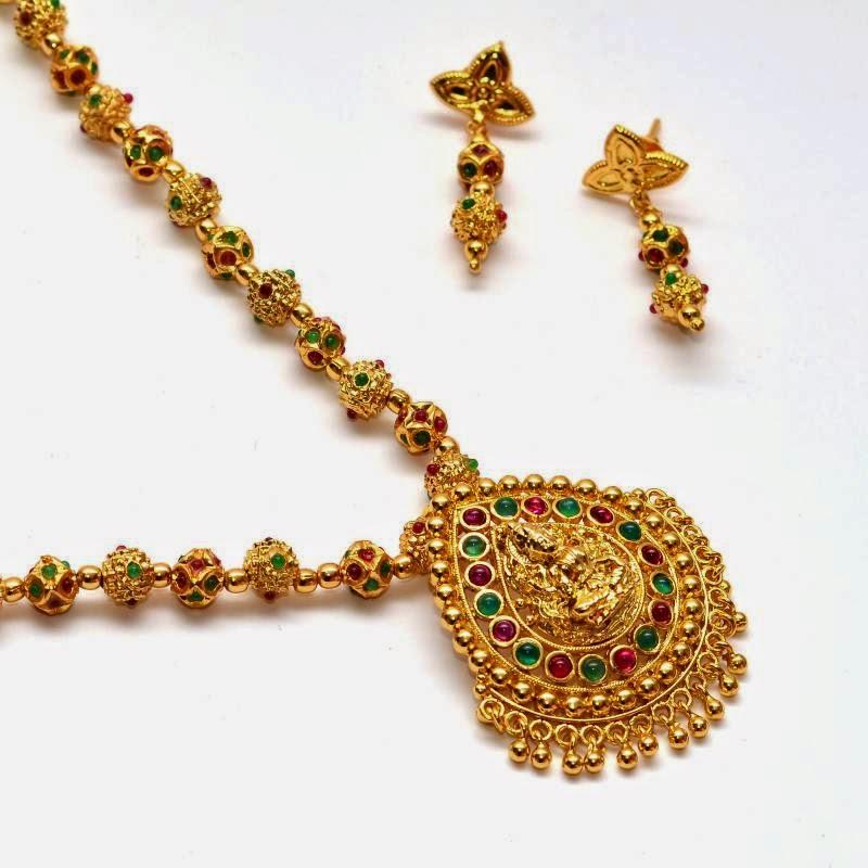 Bhima Jewellery Bands: Jewellery Designs : Temple Jewelery Simple Haram Set With
