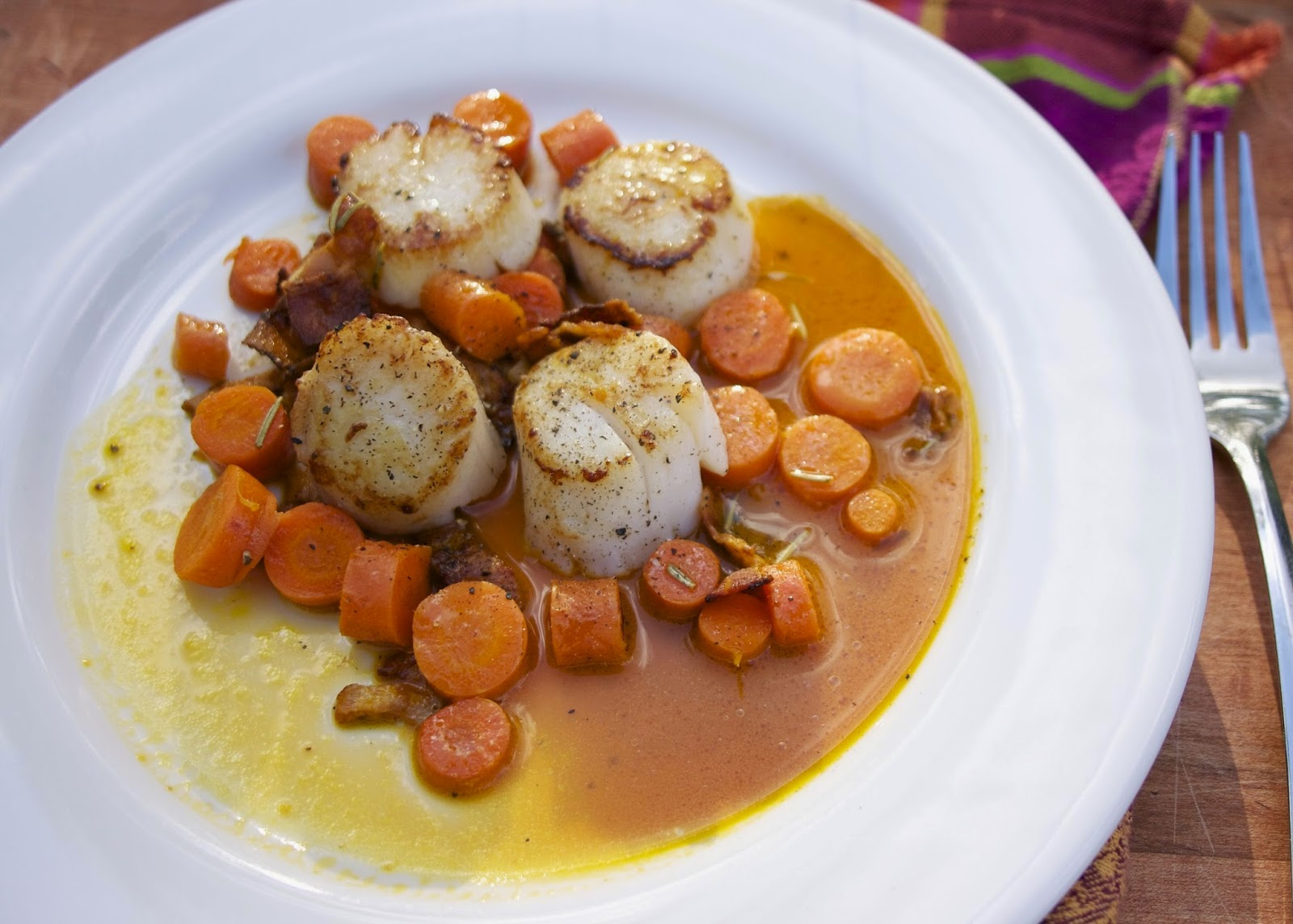 Scallops with Double Carrots: simplelivingeating.com