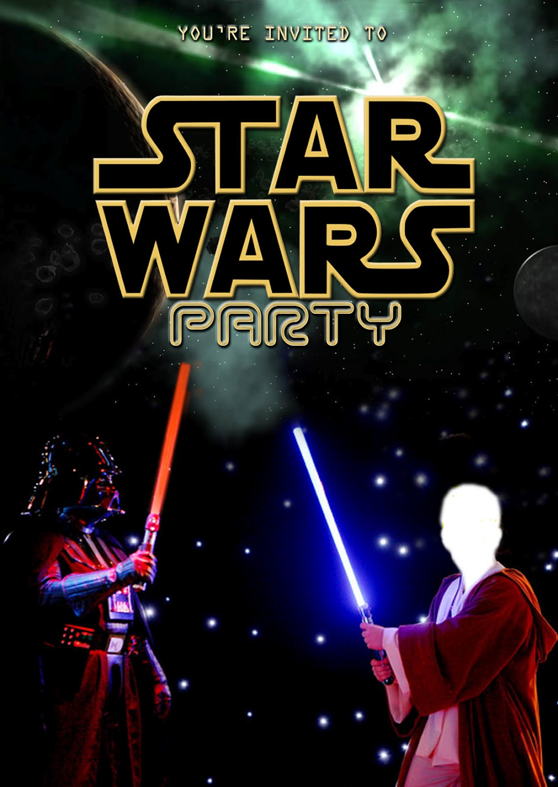 Free kids party invitations star wars party invitation self edit star wars free printable invitation edit your own filmwisefo Images