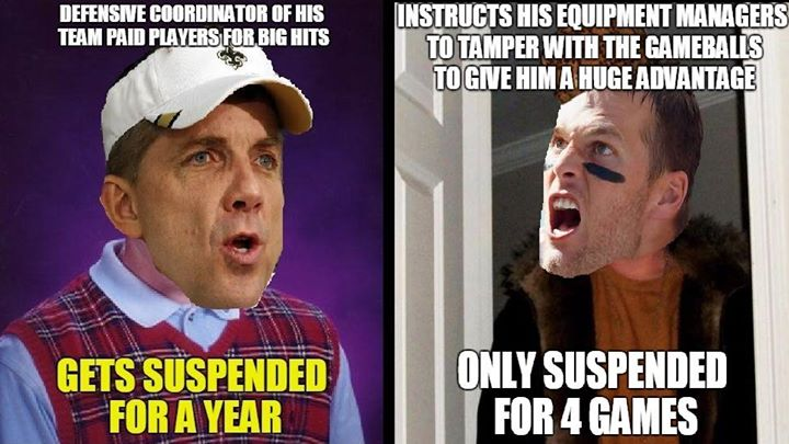 defensive coordinator of his team paid players for big hits. Gets suspended for a year. - #Goodell #suspended #4games #SeanPayton #saints #brady #patriots