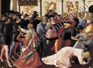 "The Great Artist Fra Angelico Painting ""Massacre of the Innocents"" c.1450-53 15"" x 15"" Muse° di San Marco, Florence"