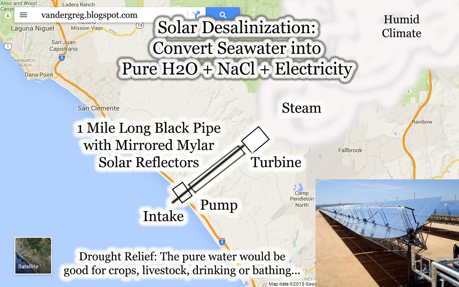 create distilled water with this giant solar desalinization machine black pipe to be at least