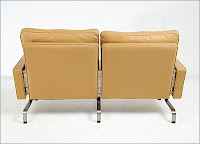 PK31 Loveseat reproduction in Camel Tan - Designer: Poul Kjaerholm