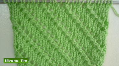 Punto (puntada) LINEAS en DIAGONAL. Knitting. Tejido con dos agujas