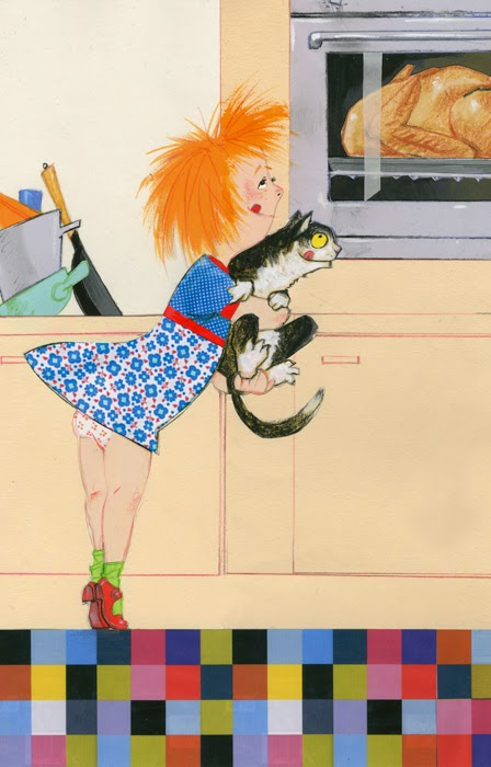 illustration by Robert Wagt of a girl and cat watching cooking of the Thanksgiving turkey