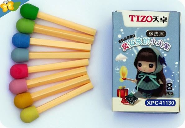 Gommes kawaii TIZO en forme d'allumettes multicolores