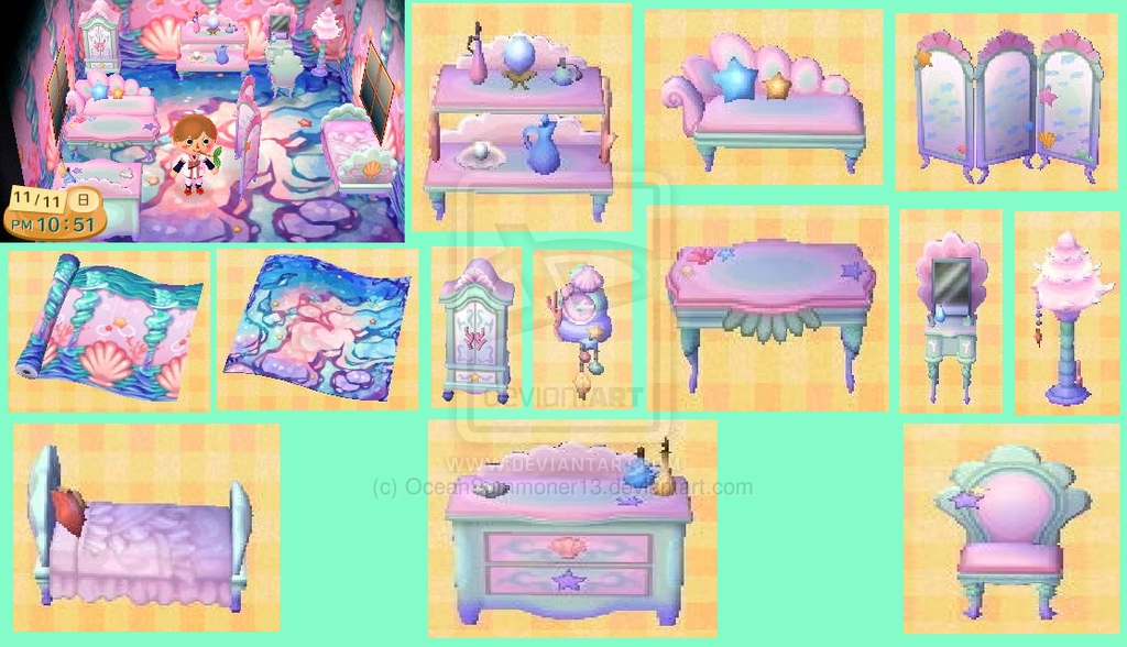 mermaid furniture animal crossing 2