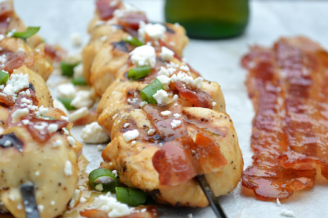 BBQ Beer Glazed Chicken Skewers with Sriracha Candied Bacon