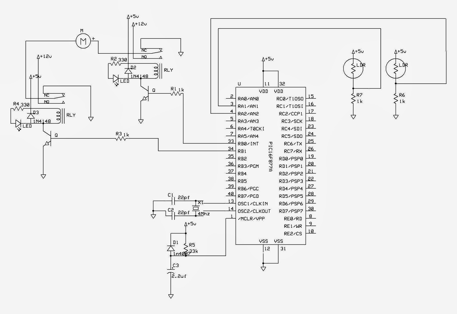 Solar Tracker Pic16f877a Projects Analog To Digital Converter Using Microcontroller Convert The Input Voltage From Source 5 V Ouput Because Integrated Circuit Only Need Operate Diagram Is As Shown Below