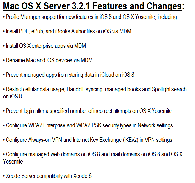 Mac OS X Server 3.2.1 Features and Changes