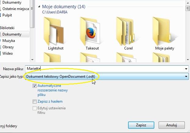 Dokument tekstowy .odt