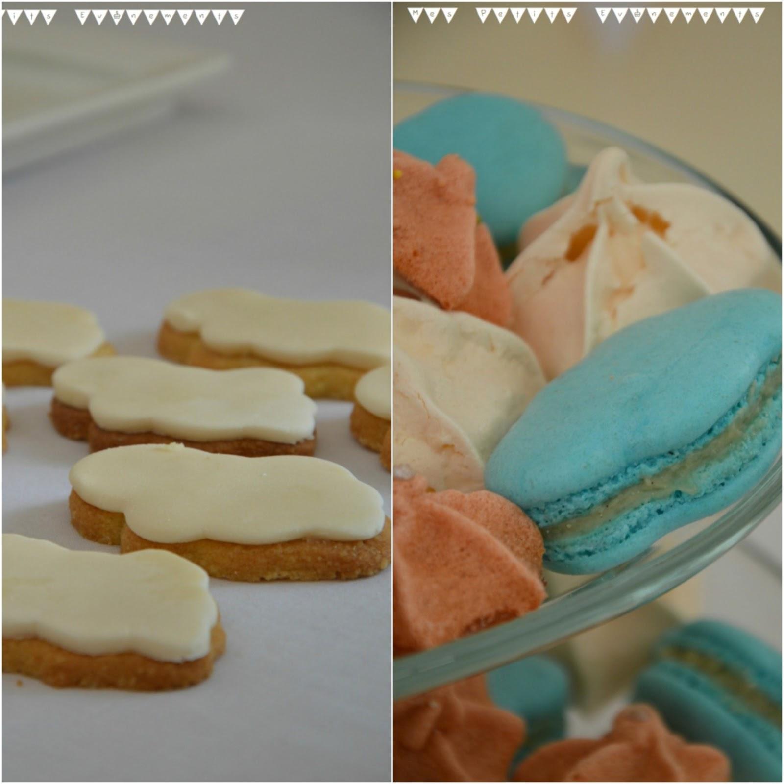 biscuit, meringue bleue et orange