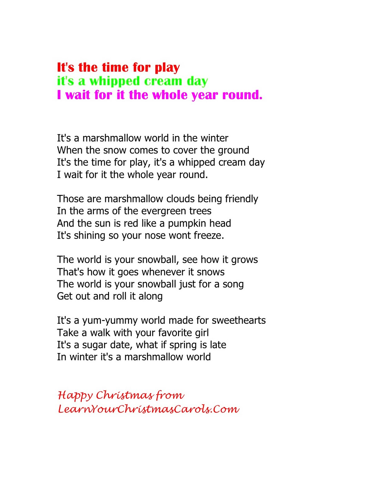Learn Your Christmas Carols: A Marshmallow World - Lyrics, Video ...