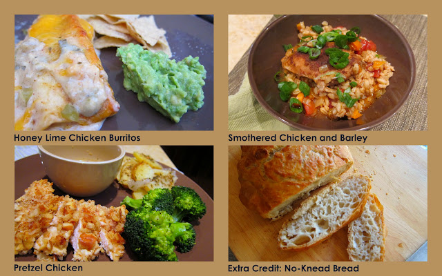 Honey Lime Chicken Burritos, Pretzel Chicken, Chicken and Barley, No-Knead Bread