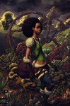 Young woman in fantasy landscape