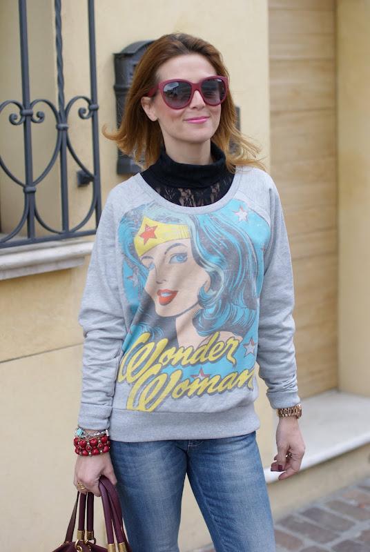 printed sweatshirts, felpa stampata, wonder woman