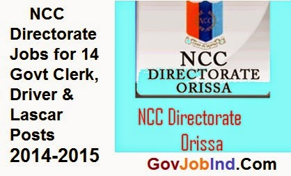 NCC Directorate Jobs for 14 Govt Clerk, Driver & Lascar Posts 2017-2018-2015