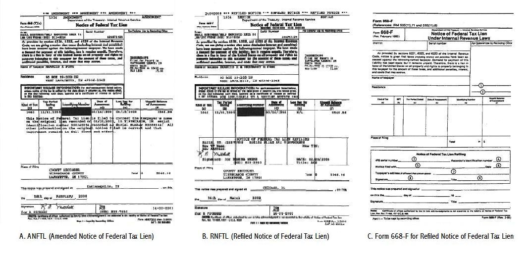 Federal Tax Lien Certificate Of Release Of Federal Tax Lien Form 668