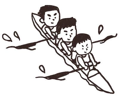 3人乗りカヌーを漕いでいる人達のイラスト(スポーツ) モノクロ線画