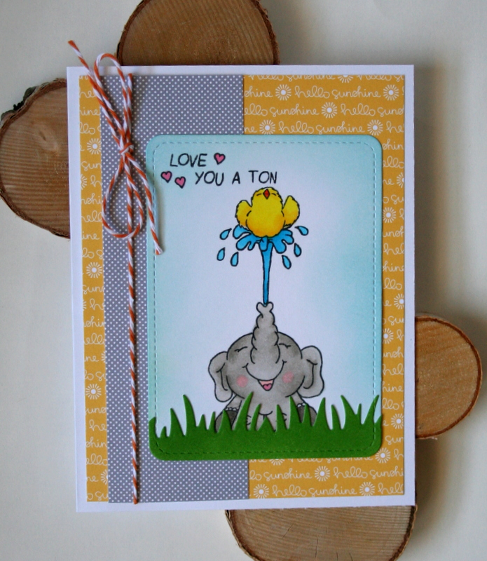 Elephant and Chick Scene Card featuring Gerda Steiner Designs Clear Stamp Sets