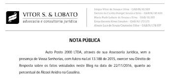 Direção do Posto 2000 emite nota pública rechaçando avaliação da ANP