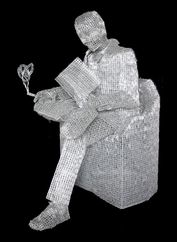 Wire frame and paperclip sculptures by pietro d 39 angelo for Things you can make with paper clips