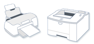 Printer, Inkjet (left), Laser (Right)