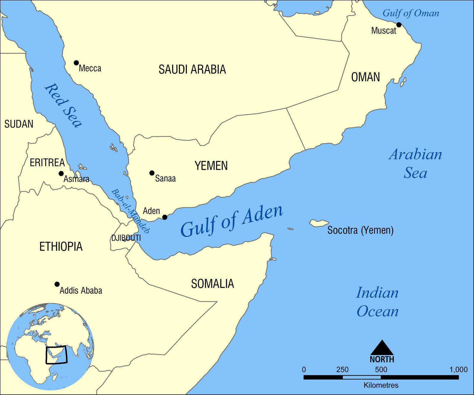 Yibuti / Djibouti: Tres militares de España heridos en un atentado. Gulf_of_Aden_map