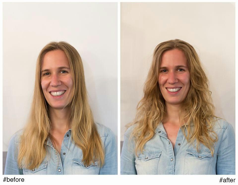 Aurélia, avant et après le Beach Waves réalisé par Eddy, coiffeur à Montpellier, au Studio 54.