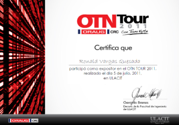 Certificación OTN TOUR 2011 Expositor