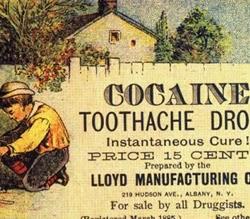 Propaganda de drops de cocaína em 1885.