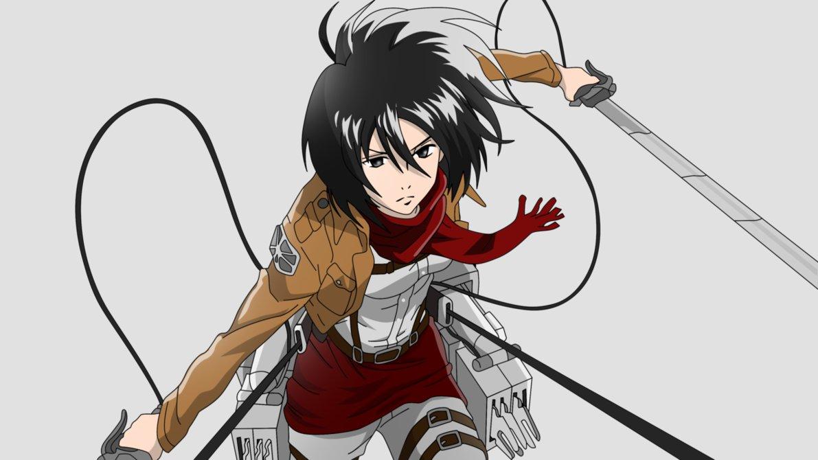 Anime Characters Using Sword : Anime otaku posadas personajes shingeki no kyojin mikasa