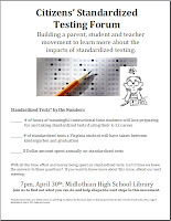 Flyer-quiz for Citizens Standardized Testing Forum