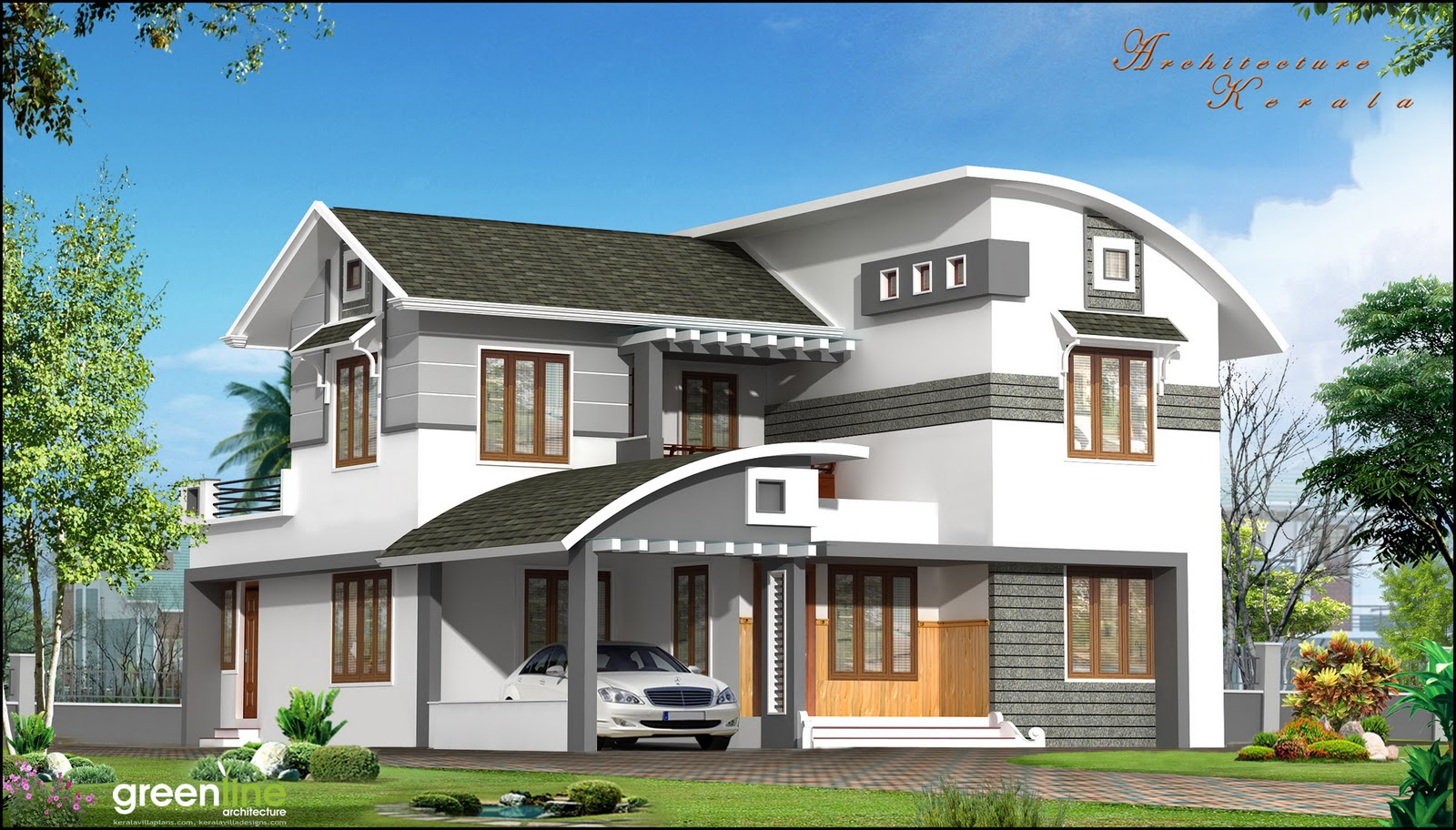 Architecture kerala a beautiful house elevation for Beautiful architecture houses