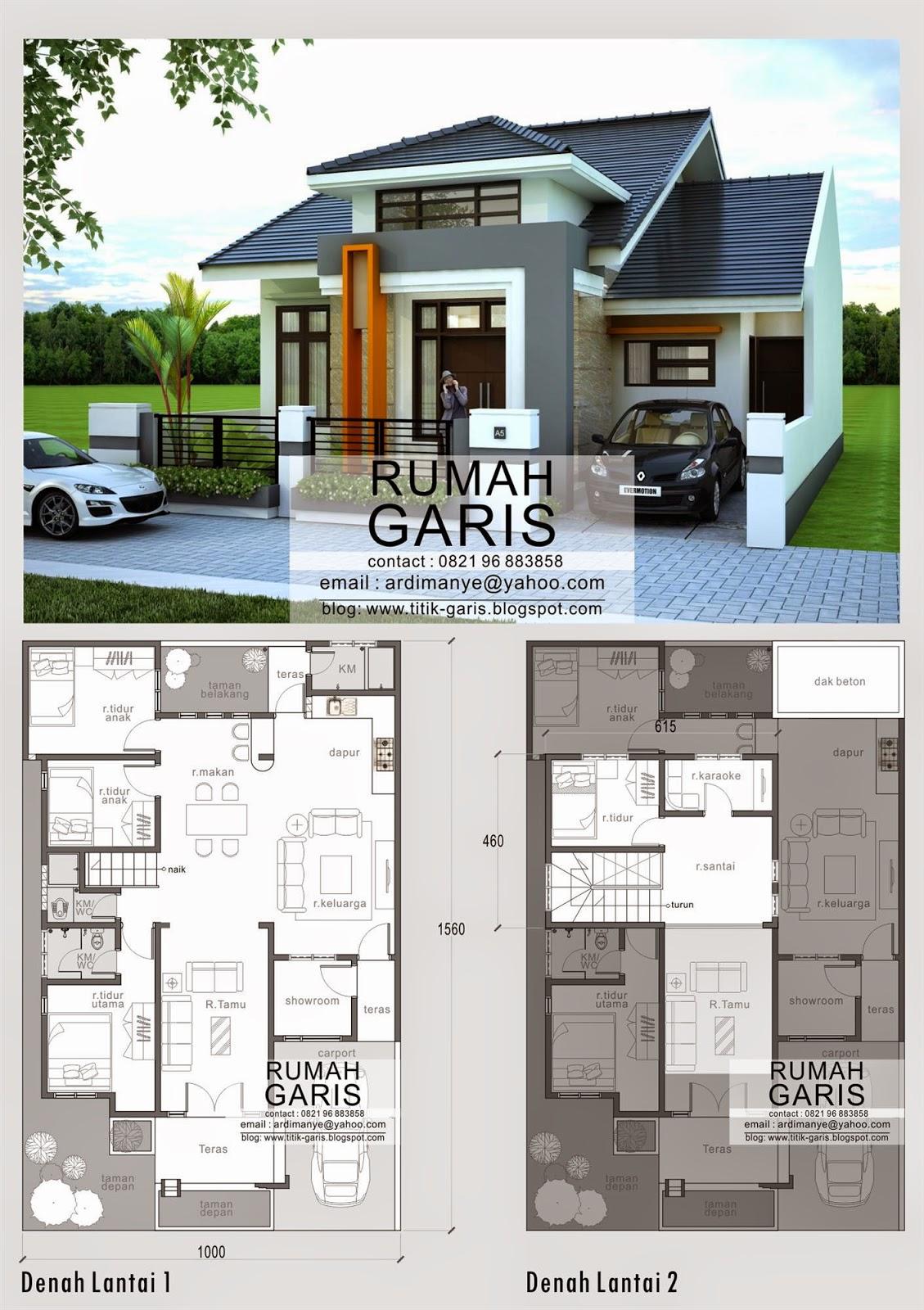 Kumpulan gambar denah dan tampak berbagai macam tipe rumah for Design interior rumah villa