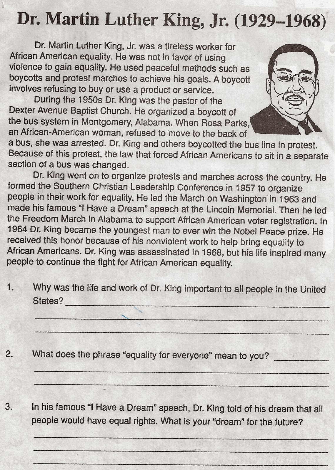 worksheet Martin Luther King Worksheet elementary school enrichment activities martin luther king day worksheets