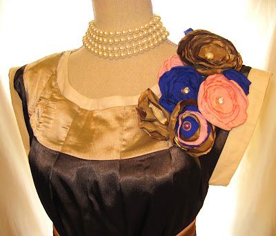 Women's short umbrella balloon dress, shiny rich chocolate and beige colors,