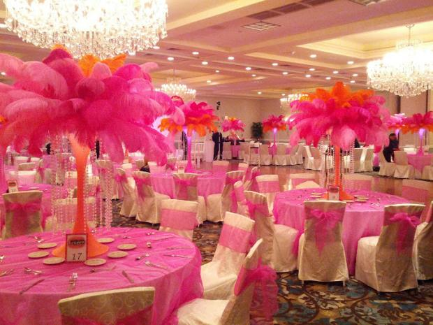 Pink And Black Wedding Centerpieces