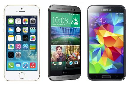 Samsung Galaxy S5, HTC One M8 and Apple iPhone 5s Smartphones